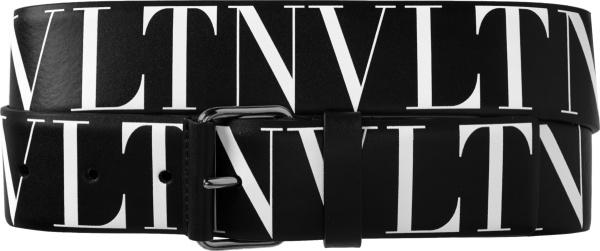 Valentino Black Vltn Print Logo Belt