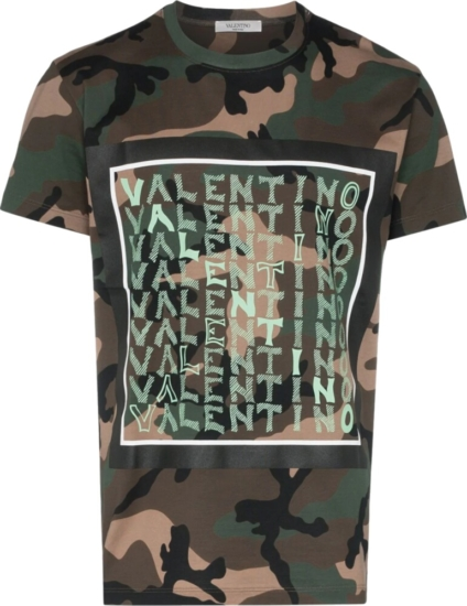 b492482e72a65 Valentino Repeating Logo Print Camo T-Shirt | Incorporated Style