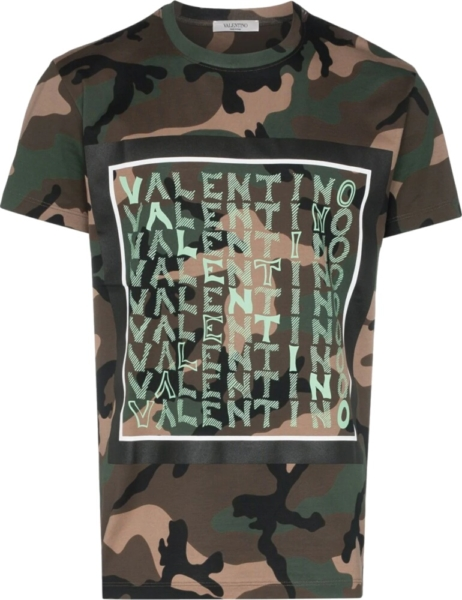 Valentino Light Green Logo Print Camo Tshirt