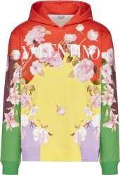 Valentino Multicolor Flying Flowers And Logo Print Hoodie