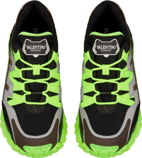 Valentino Neon Yellow And Black Climber Sneakers