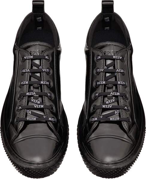 Valentino Patent Black Low Top Sneakers