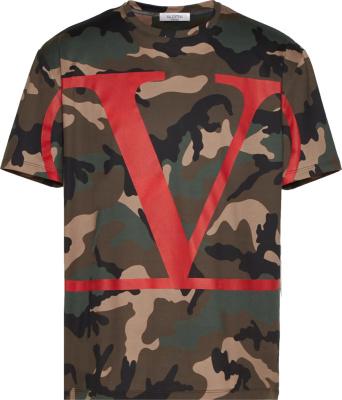 Valentino Red Vlogo Print Camo T Shirt