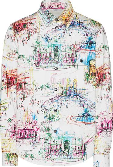 Valentino White And Allover Multicolor Roman Sketch Overshirt
