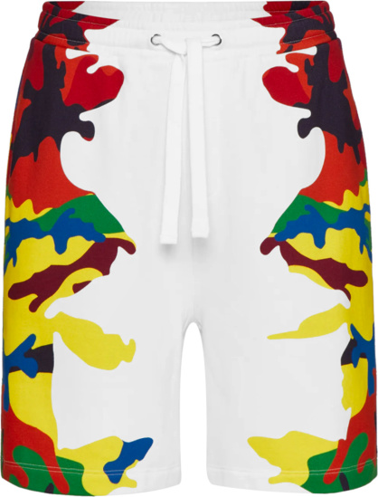 Valentino White And Multicolor Camouflage Camou7 Shorts