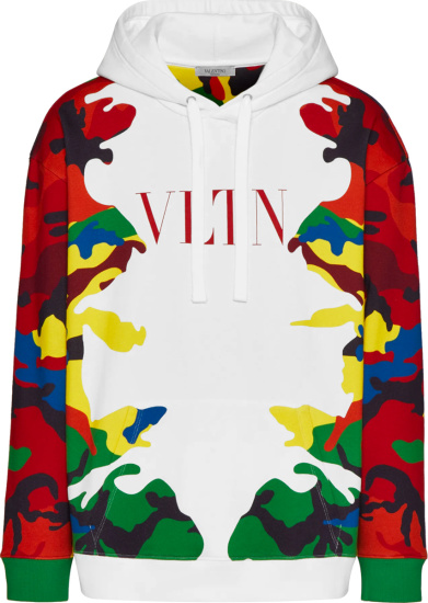 Valentino Whtie And Multicolor Camouflage Camou7 Hoodie Wv3mf18i7nlc40