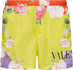 Valentino Yellow And Multicolor Flying Flowers Logo Swim Shorts