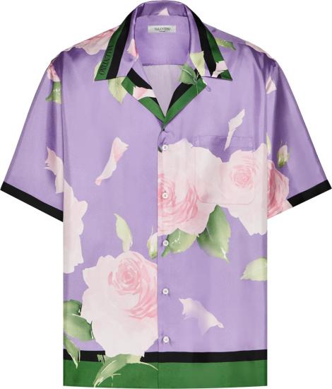 Valention Purple And White Rose Print Shirt