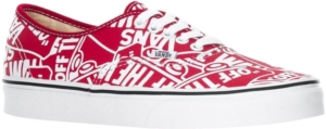 'Off The Wall' Repeat Print Red Sneakers