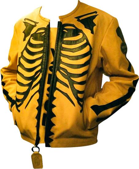 Vanson Leather X Fly Genius Yellow Black Skeleton Jacket