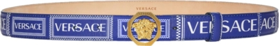 Versace 90s Logo Blue Leather Belt