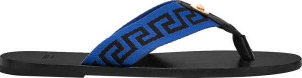Versace Black And Blue Greca Key Strap Thong Sandals