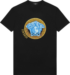 Versace Black And Neon Blue Medusa Head T Shirt