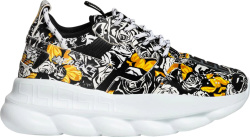 Versace Black Baroque Print Chain Reaction Sneakers