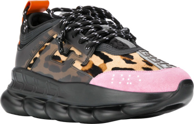 Versace Black Leopard And Pink Chain Reaction Sneakers