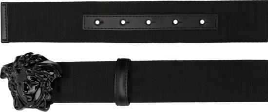 Versace Black Nylon Medusa Head Belt