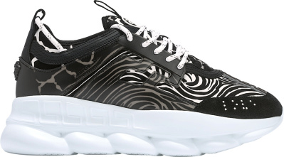 Versace Black Zebra Print Chain Reaction Sneakers