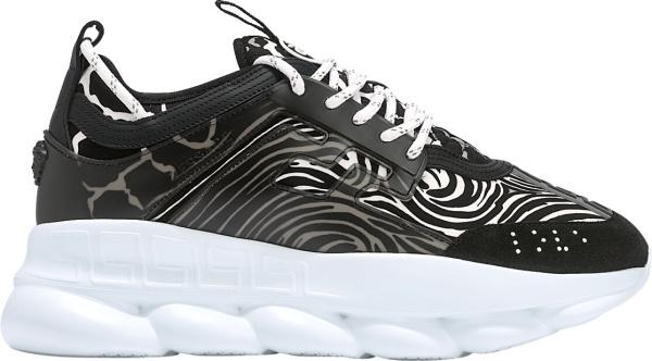 Versace Black Zebra Print Chain Reaction Sneakers