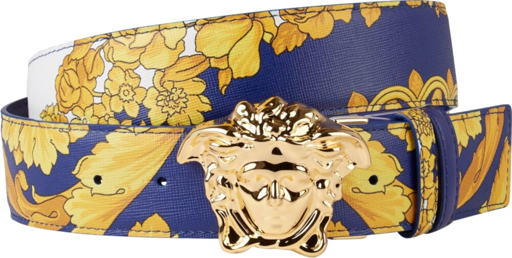 Versace Blue Baroque Leather Printed Belt