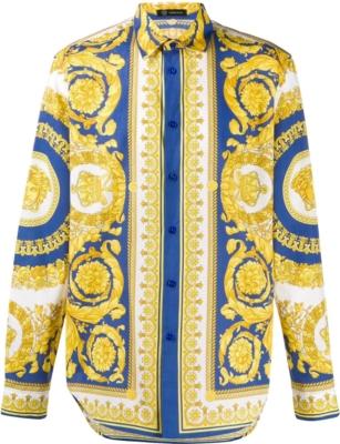 Versace Blue Baroque Print Shirt