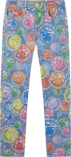 Versace Blue Denim Allover Multicolor Medusa Print Jeans