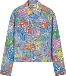 Blue Allover-Medusa Denim Jacket