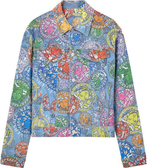 Versace Blue Denim And Allover Multicolor Medusa Print Jacket