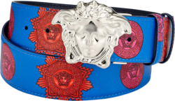 Blue & Red Logo Print Medusa Head Belt