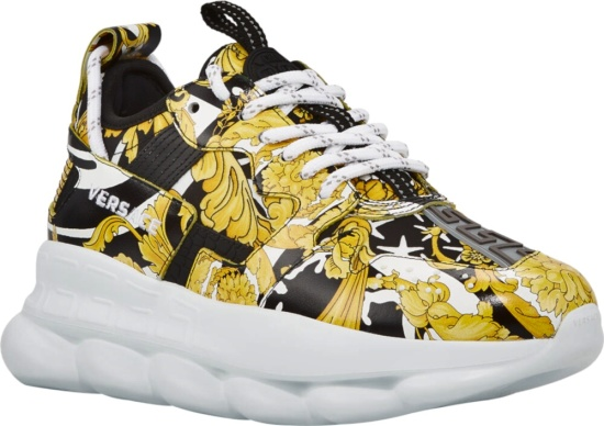 Versace Gold Baroque Print Chain Reaction 2 Sneakers
