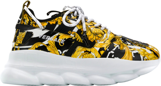 Versace Gold Black Print Chain Reaction 2 Sneakers