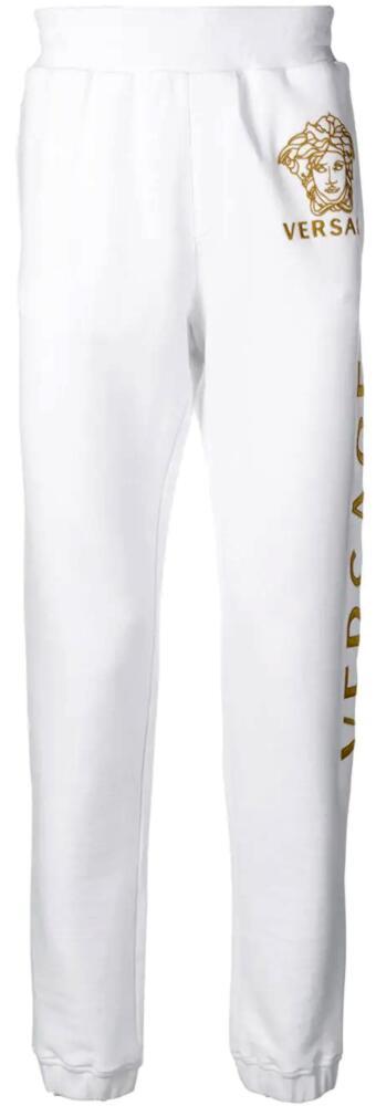 Versace Gold Medussa Embroidered White Sweatpants