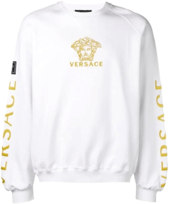 Versace Gold Medussa Embroidered White Sweatshirt