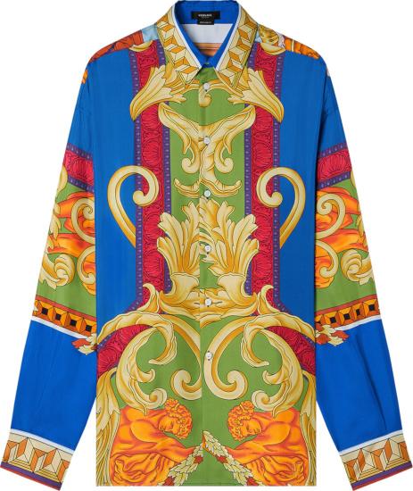 Versace Green And Blue Renaissance Print Silk Shirt