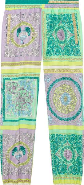 Versace Green And Purple Mosiac Pants