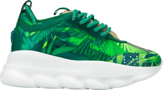 Versace Green Leaf Print Sneakers