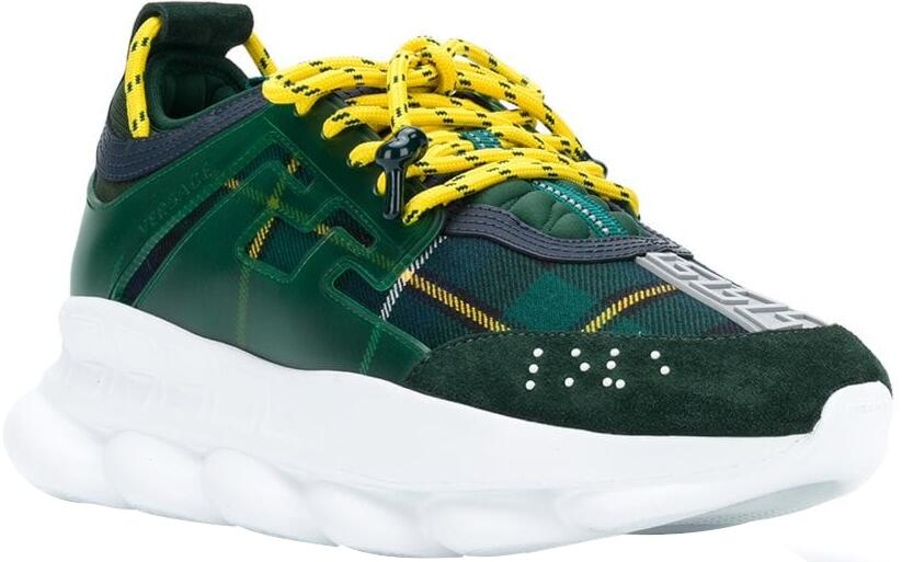 Versace Green Plaid Chain Reaction Sneakers With Yellow Laces