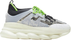 Versace Grey Python Print Chain Reaction Sneakers