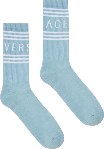 Versace Light Blue And White 1990s Logo Striped Socks