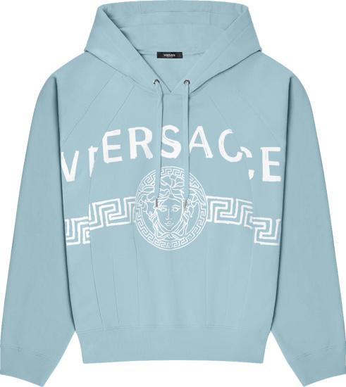 Versace Light Blue And White Logo Print Recontstructed Hoodie