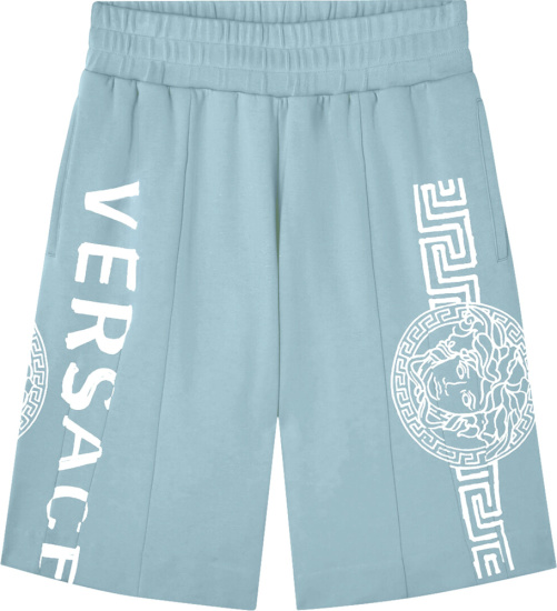Versace Light Blue And White Logo Print Track Shorts