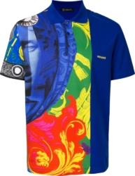 Versace Magna Grecia Blue Print Polo Shirt