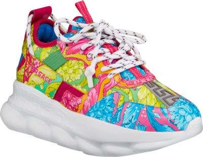 Versace Multicolor Baroque Print Chain Reaction Sneakers