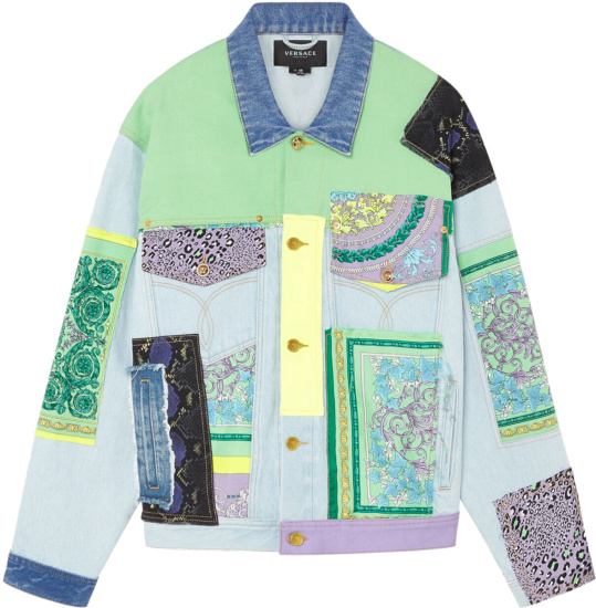 Versace Multicolor Patchwork Print Denim Jacket