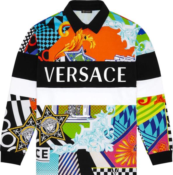 Versace Multicolor Pop Temple Print Polo Shirts