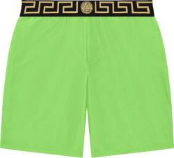 Versace Neon Green And Black Greca Key Swim Shorts