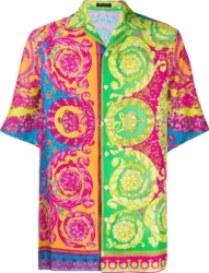 Versace Neon Pastel Baroque Print Shirt