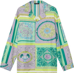 Versace Pastel Green And Purple Barocco Mosaic Print Pajama Shirt