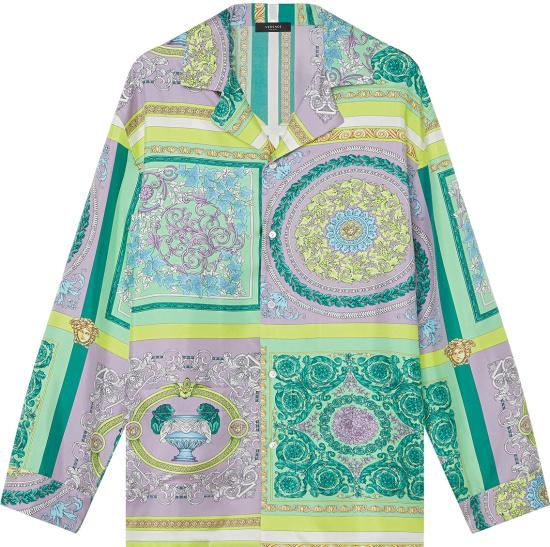 Versace Pastel Green And Purple Barocco Mosaic Print Pajama Shirt