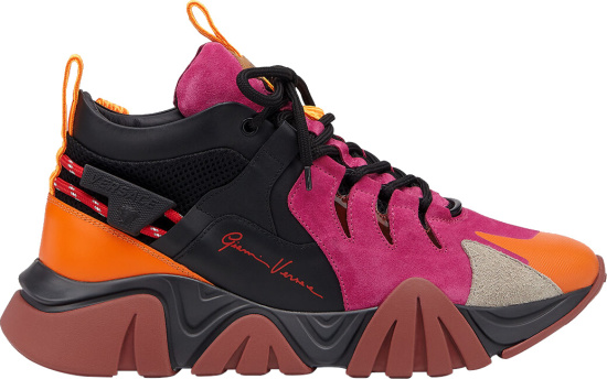 Versace Pink And Purple Squalo Sneakers