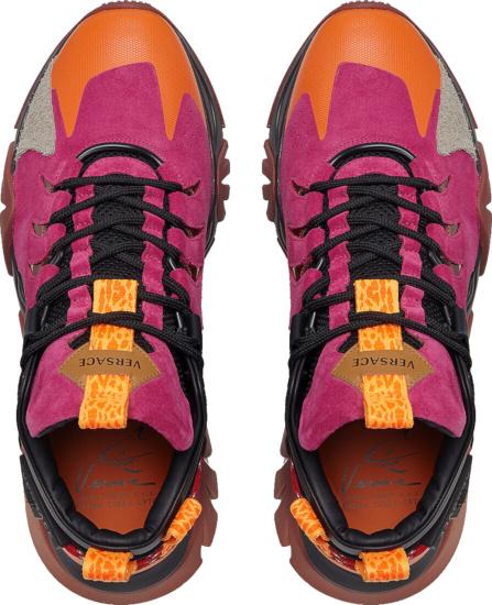 Versace Pink Orange Black Sneakers